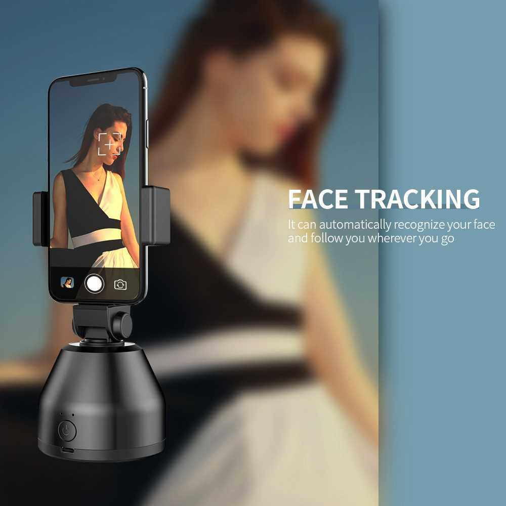 360 Object Tracking Holder Portable Smart Shooting Gimbal 360 Rotation Auto Face Tracking Object Tracking Holder White (White)