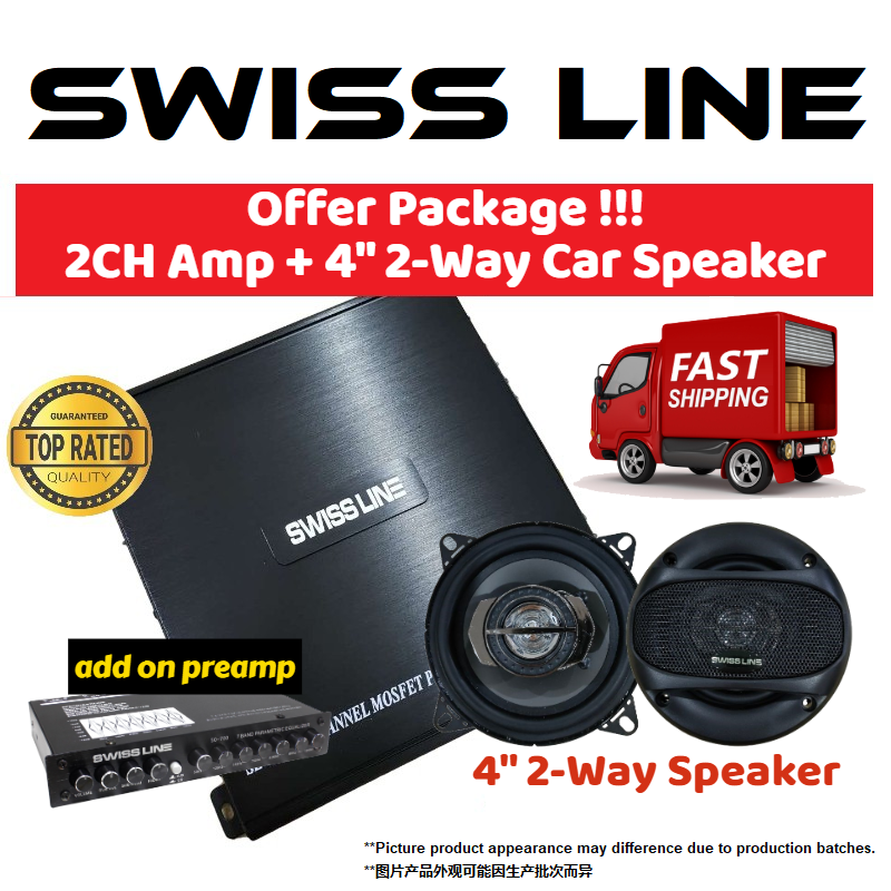 "SWISS LINE SL-2000 Car Amplifier 1600 Watts 2-CH Channel High Performance Power Car Amp for Car Speaker 2ch amp + 4"" 2-Way Car Speaker 150 Watts Coaxial Car Speaker add on PREAMP"