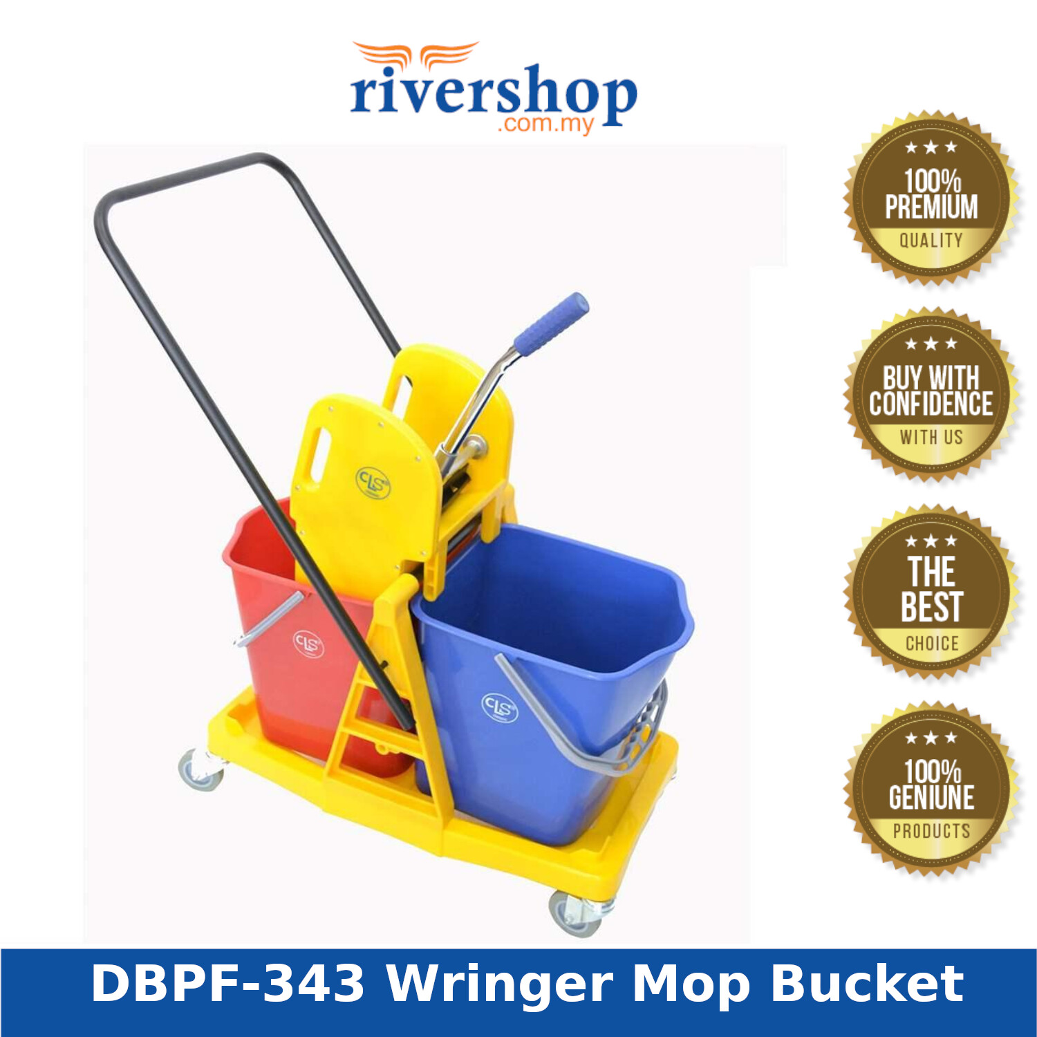 Rivershop Double Wringer Mop Bucket with Plastic Frame (Down Press) DBPF-343