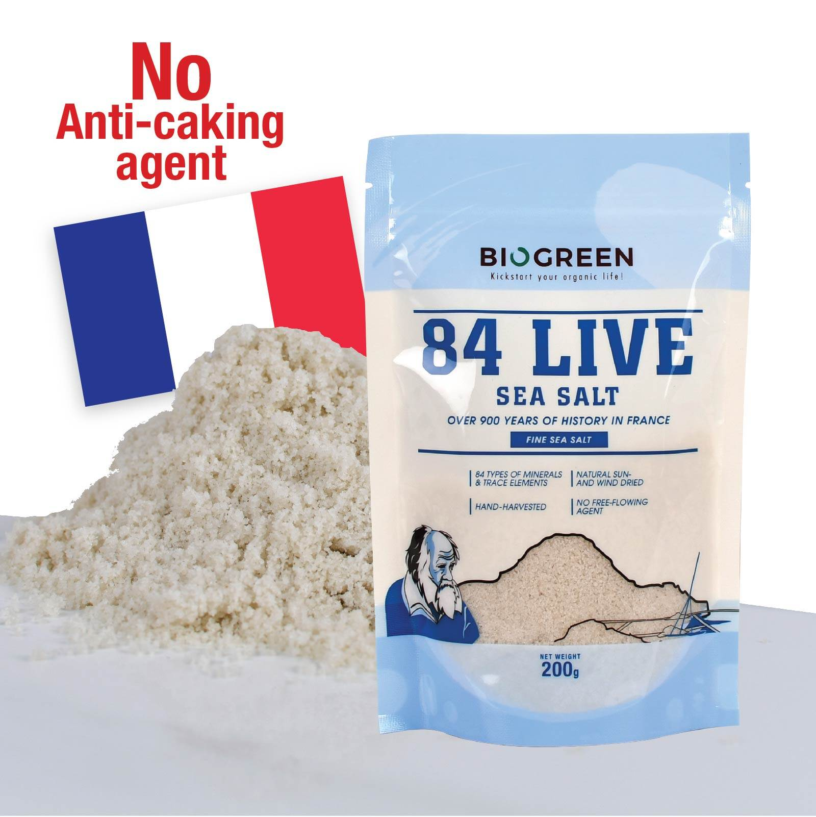 84 Live Sea Salt (Fine) 200g (HALAL)