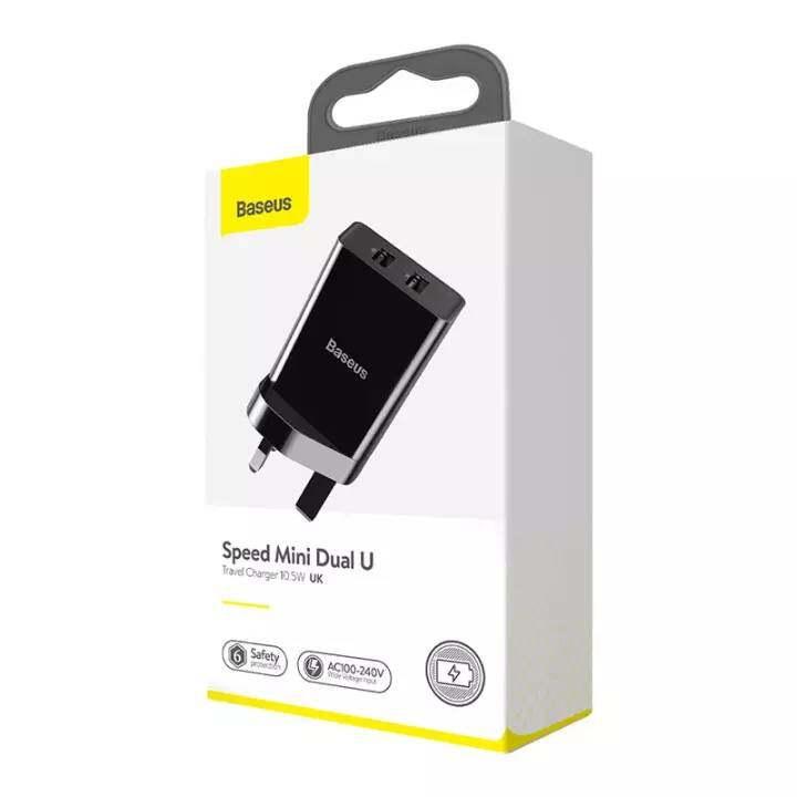 Baseus (CCFS-S01) / (CCFS-R01) Speed Mini Dual U 2-Usb 2A (UK / EU) AC Adapter  (BLACK)