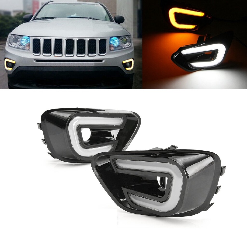 Car Lights - White + Yellow LED DRL Daytime Running Turn Signal Light for Jeep Compass 11-16 - Replacement Parts