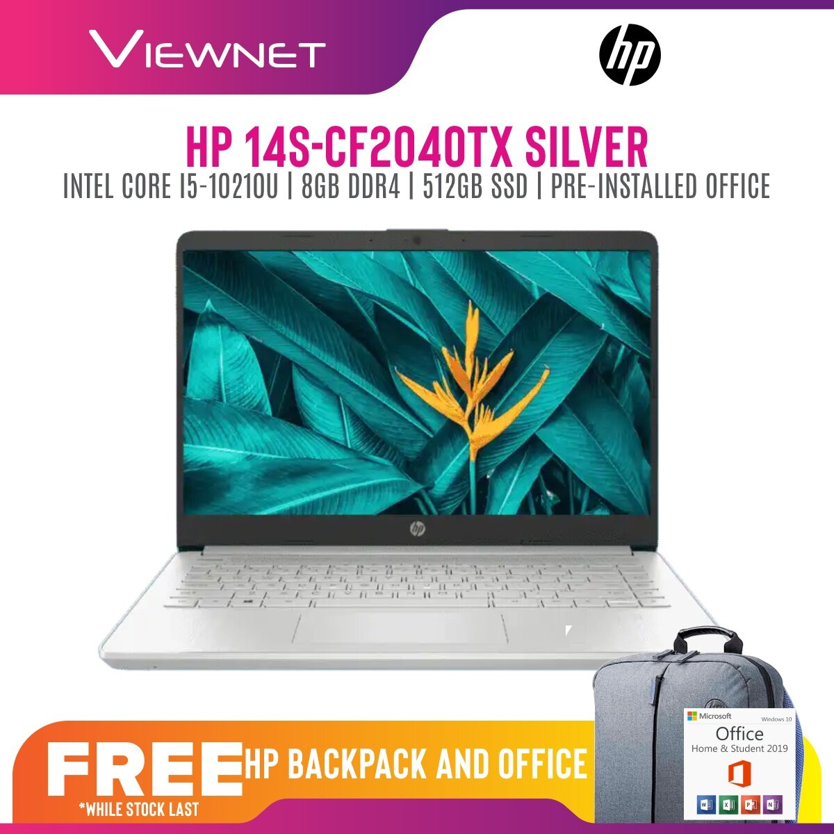 HP 14S-CF2040TX  INTEL CORE I5-10210U 8GB DDR4 512GB SSD AMD 530 2GB 14'' FHD OFFICE H&S BUILD IN (2Q9Y0PA) 2 Years Warranty Onsite