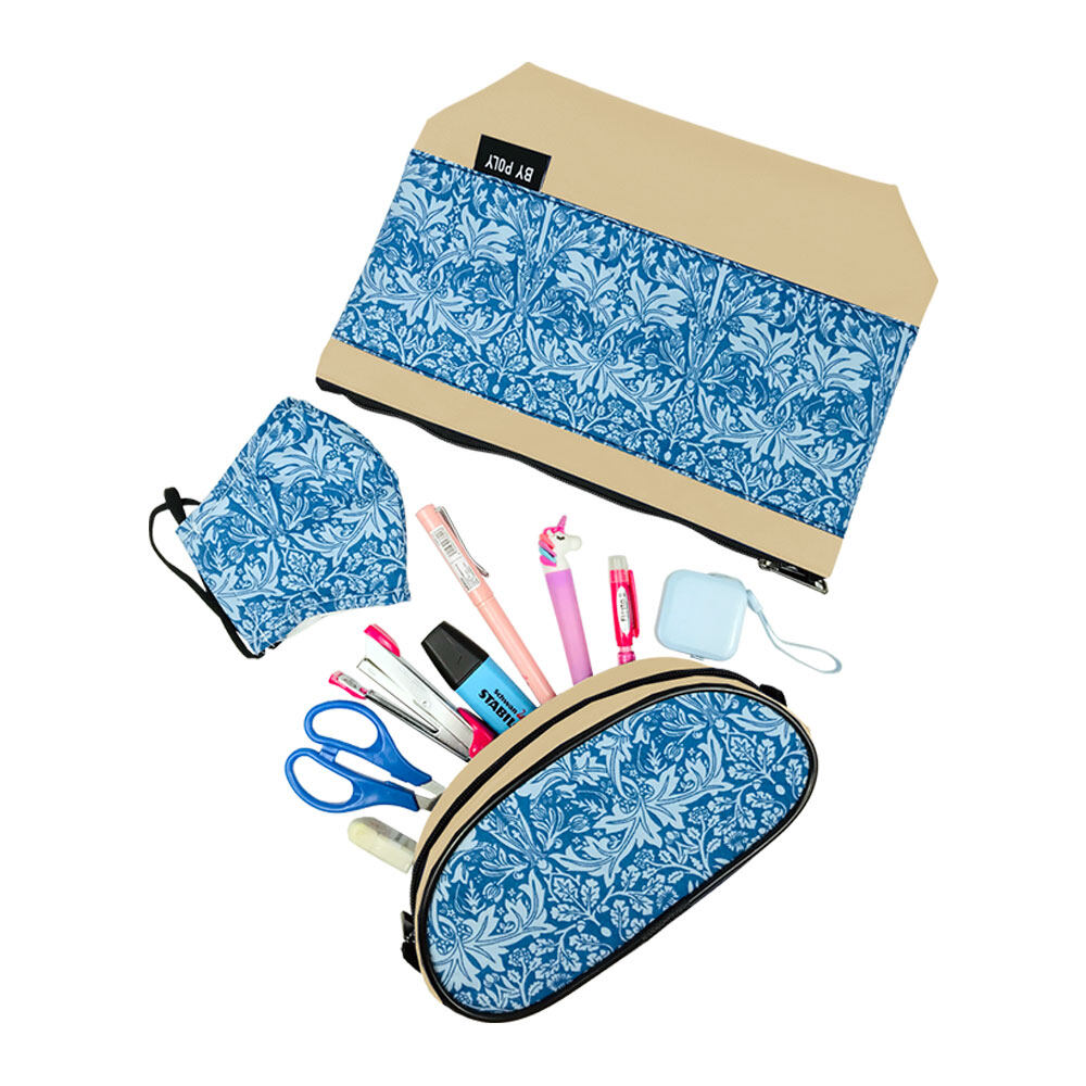 Poly-Club XI8039 3-in-1 Fashion Printed Pouch Bag SET(Pouch + Face Mask + Pencil Case)