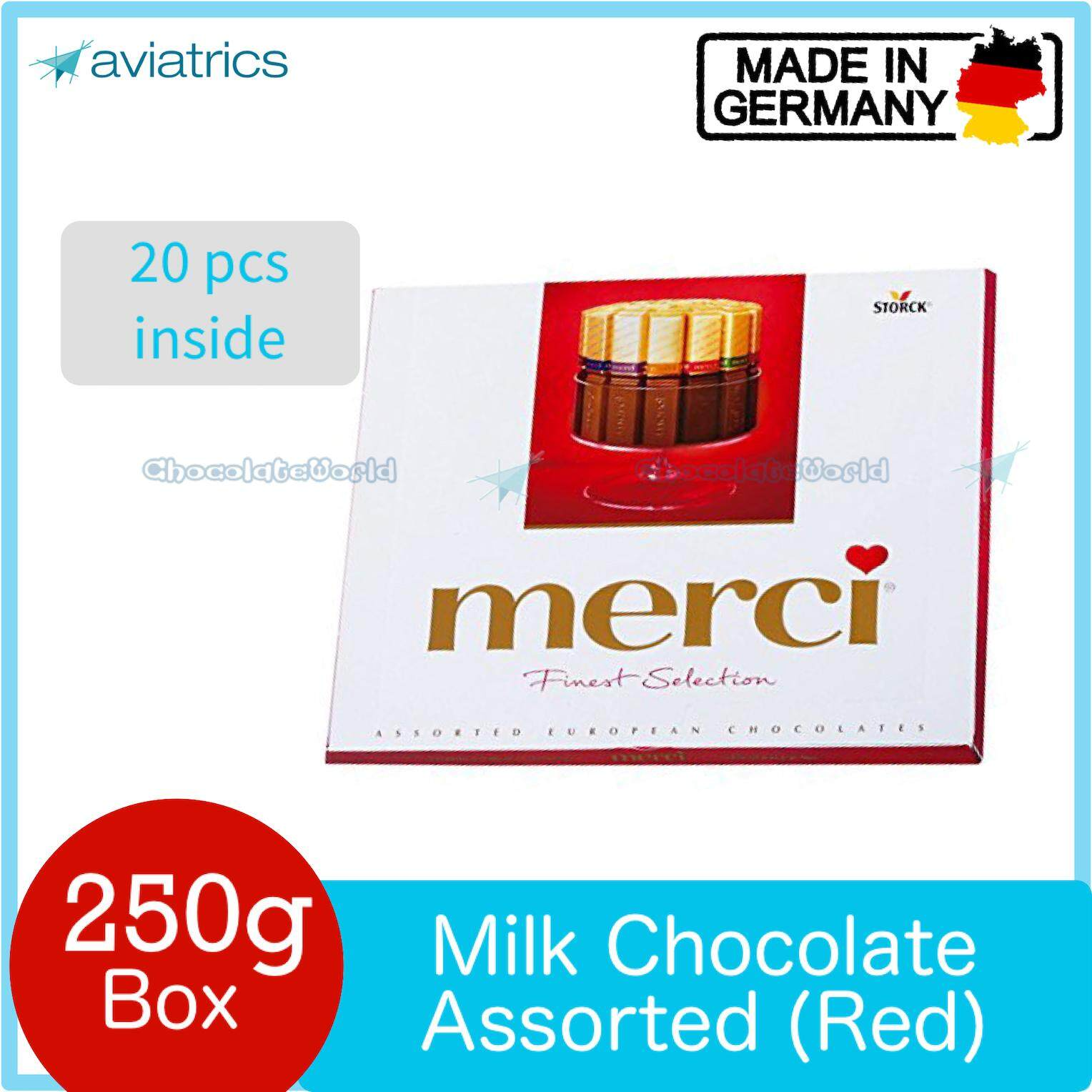 Merci Finest Selection Assorted European Milk Chocolate 250g Red (Made in Germany)