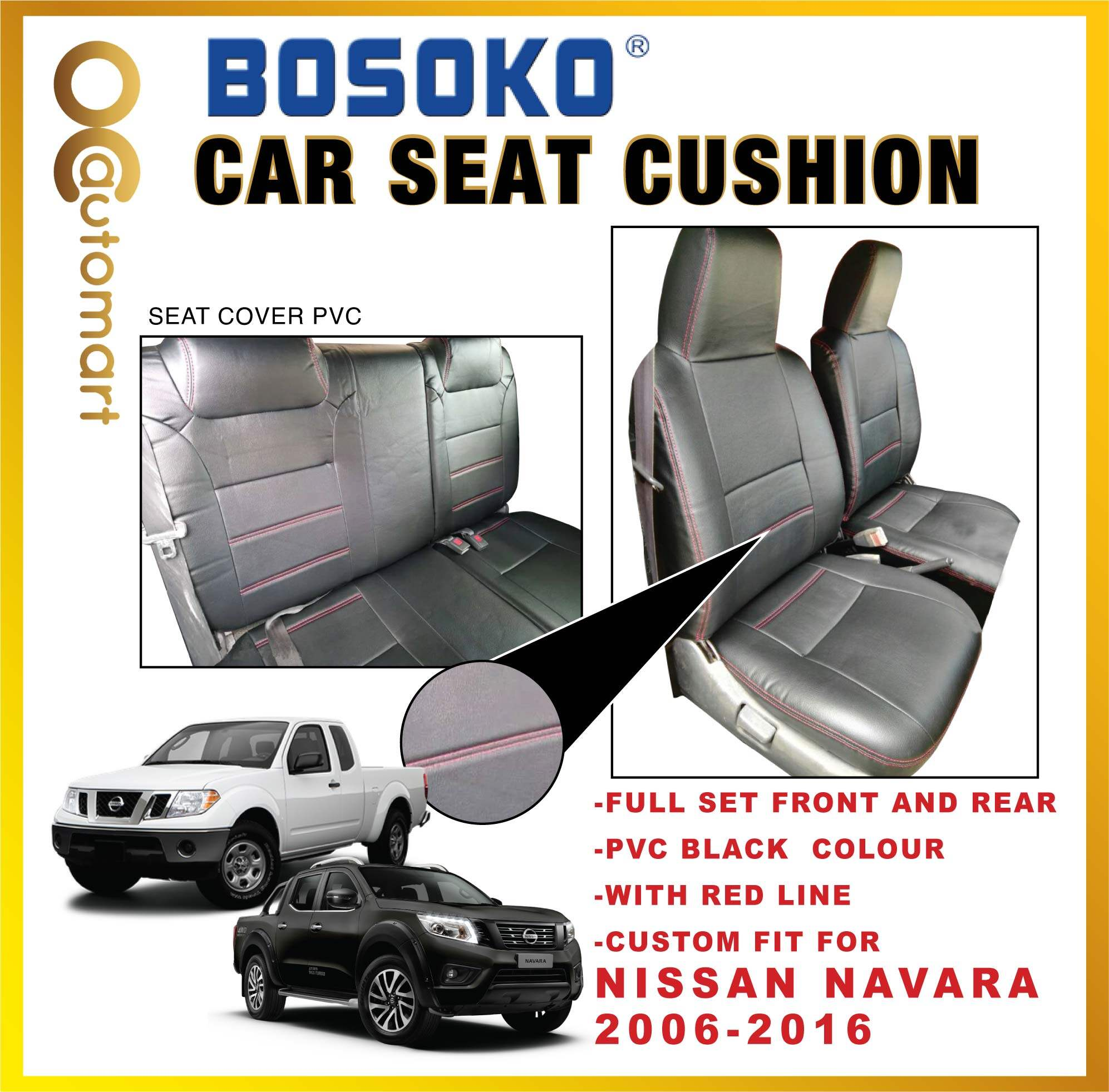 Nissan Navara Yr 2009-2016 - Car Seat Cushion Cover PVC Black Colour Shining With Red Line ( Made in Malaysia)
