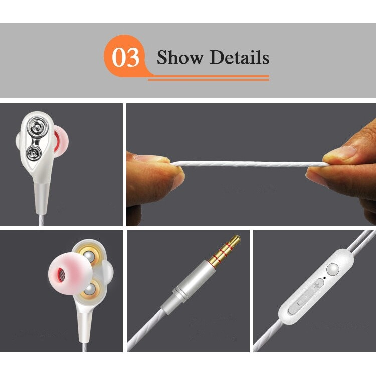 X8 3.5mm Noise Isolation sport earphone with Microphone and Subwoofer earphone - WHITE / RED / BLACK