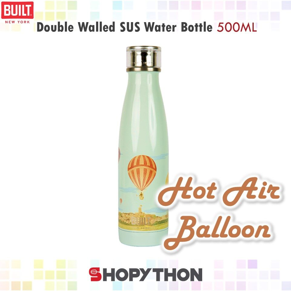 BUILT NY V&A Double Walled Stainless Steel Water Bottle 500ml (Hot Air Balloon) Thermal Flask Insulated Hot Cold Drinks Stylish Fashion Design