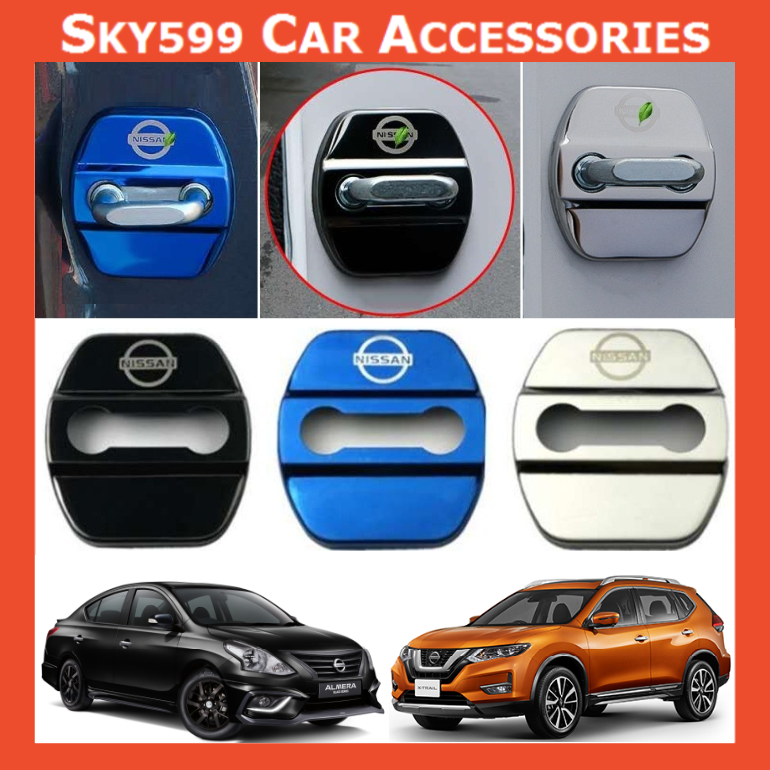 Nissan Car Stainless Steel Door Lock Cover Case [4pcs]