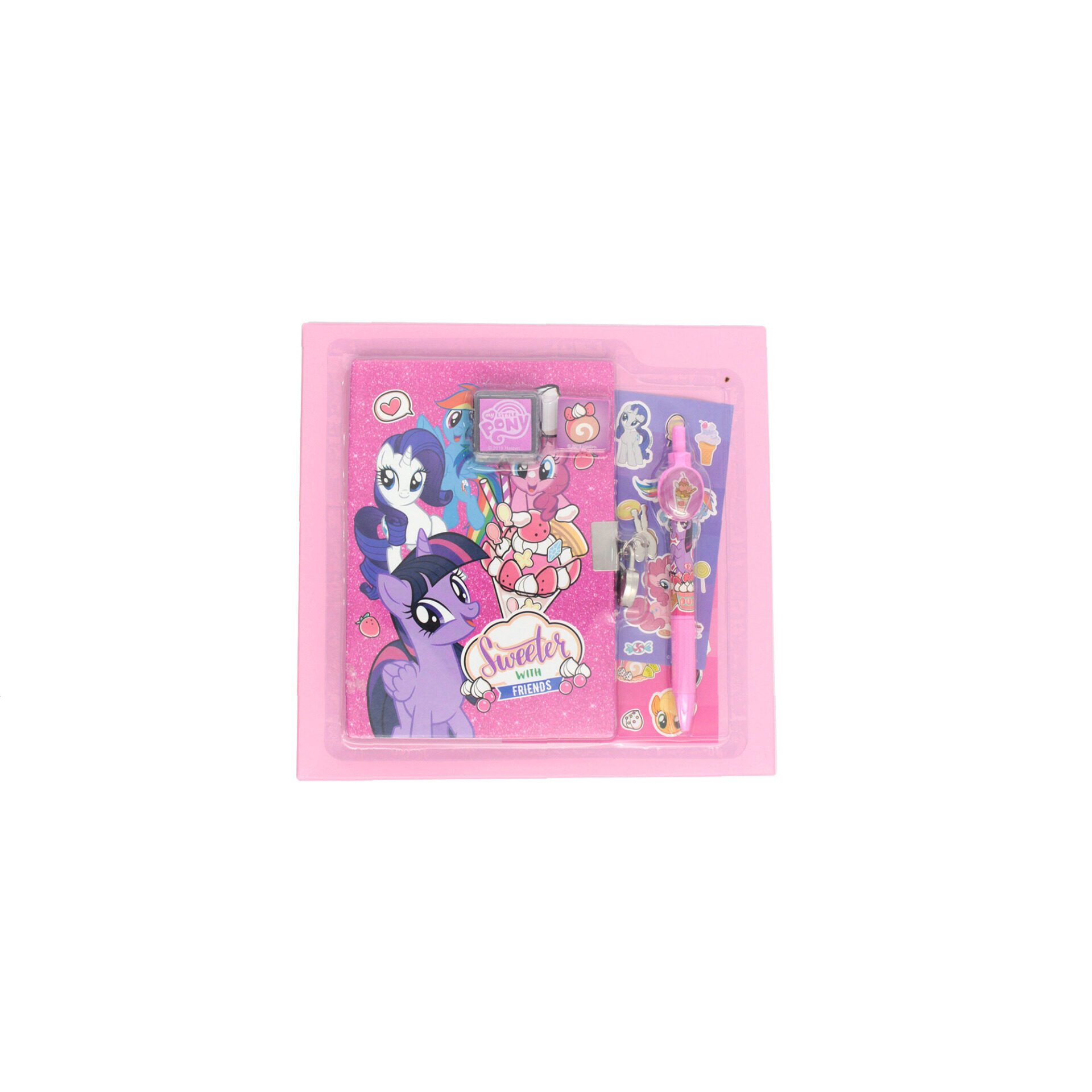 My Little Pony Secret Diary Set With Lock & 2 Keys Pen Stamp Pad Stamper & 2 Sticker Sheets For Girls