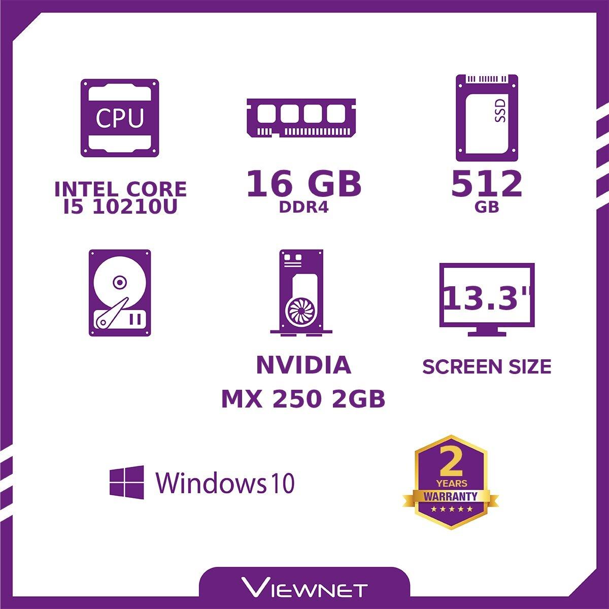 HUAWEI MATEBOOK 13 LAPTOP INTEL I5 10210U 16GB DDR4 512GB PCIE SSD MX250 2GB W10H 13