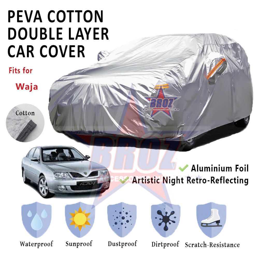 Waja High Quality Durable Anti Scratch Double Layer All Weather PEVA Cotton Car Body Cover - L Size