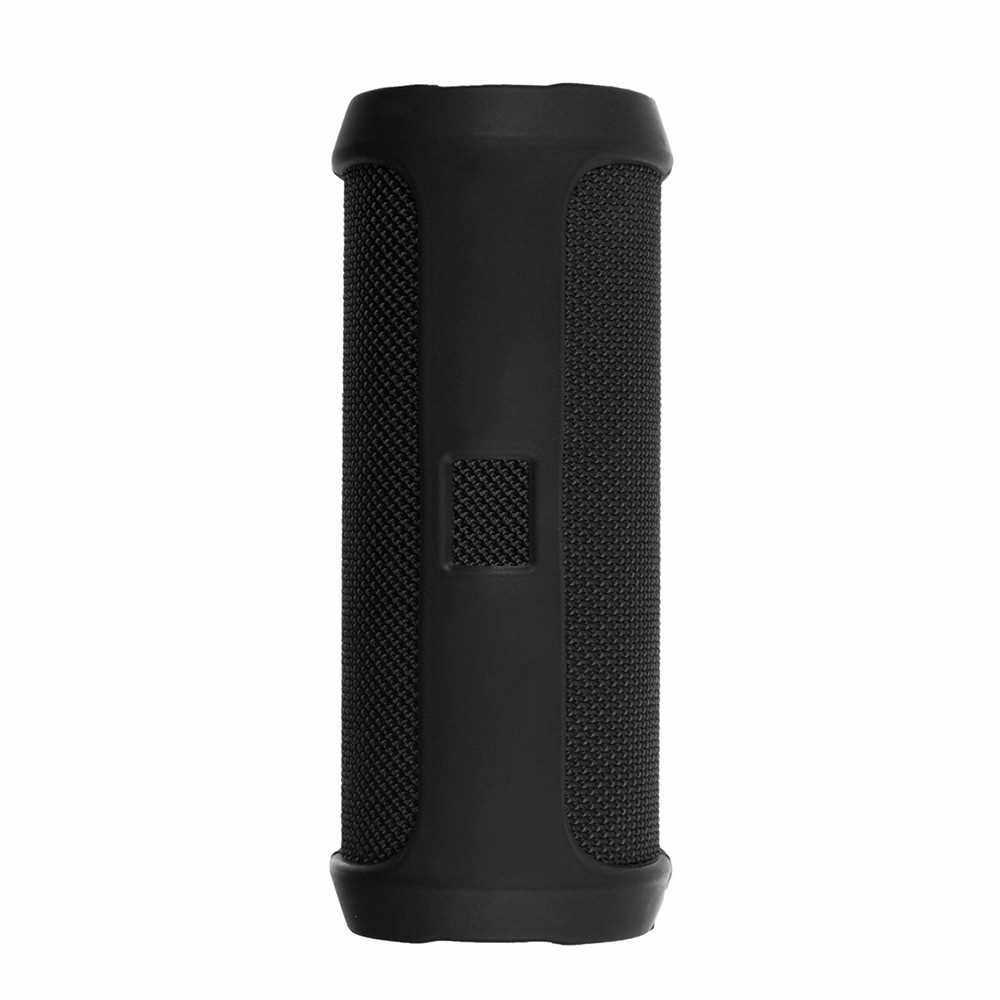Portable Silicone Case for JBL Flip 4 BT Speakers Protective Travel Case Soft Silica Gel Storage Pouch Audio Case Black (Black)