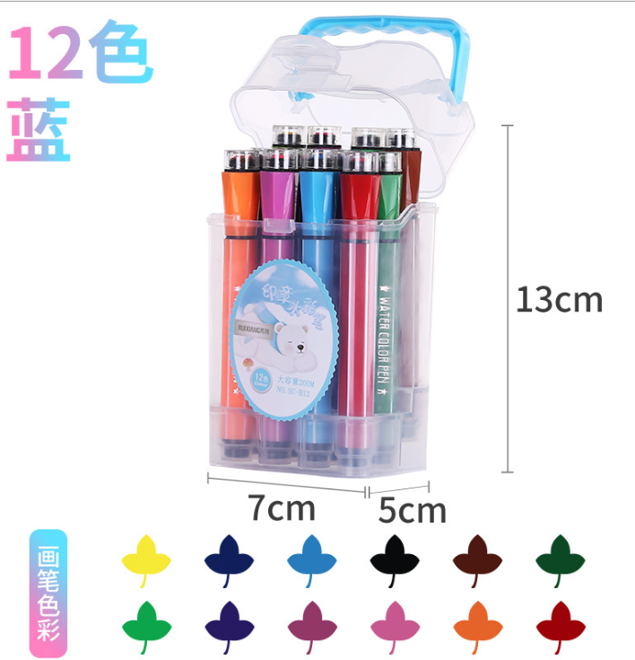 Seal Water Color pen with Stamp Draw Watercolor Painting pen Washable painting pen