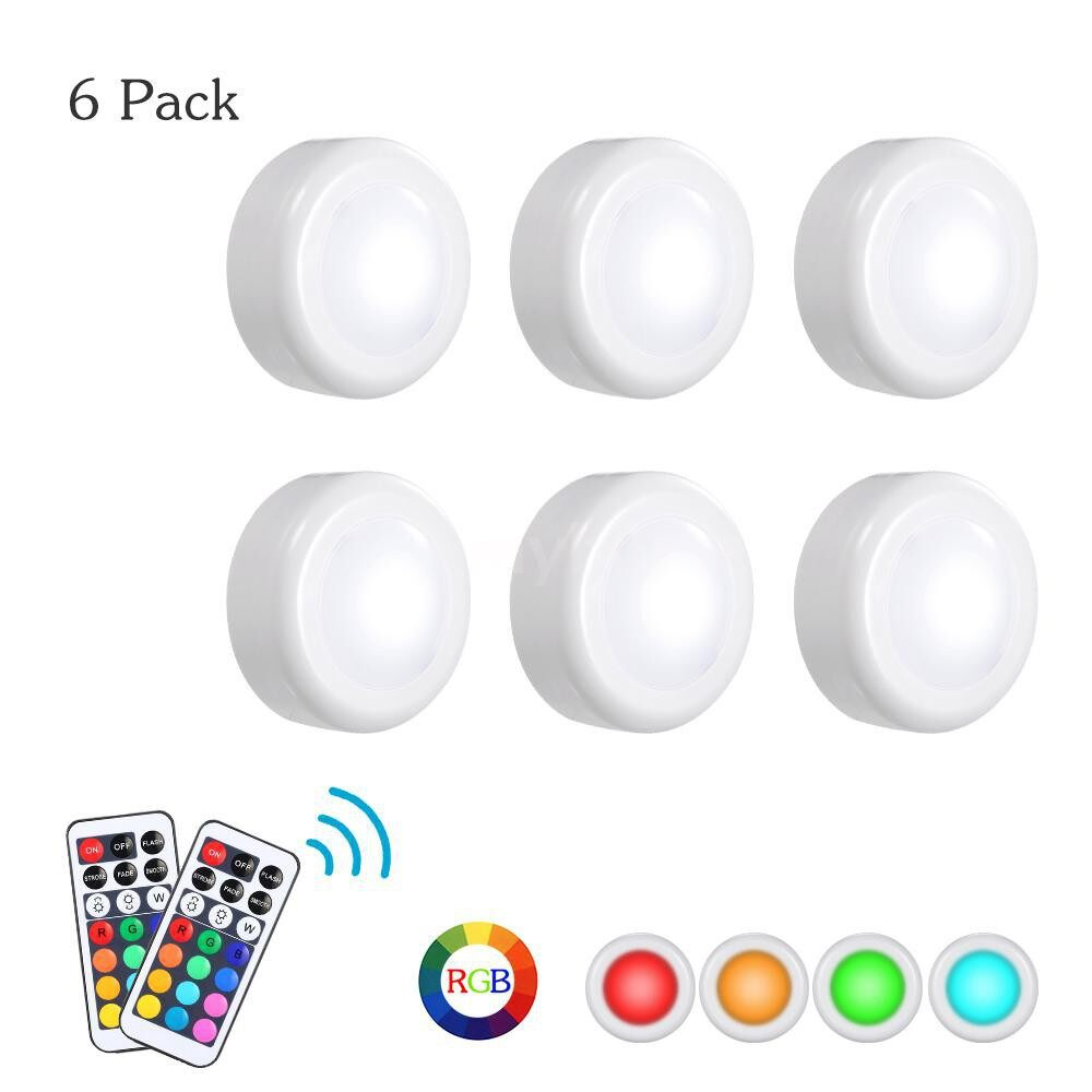 Lighting - DC5V 0.25W RGB LED Cabinet Light Puck Lamp 3 AAA Battery Powered Operated 6 Pack with 2 - #