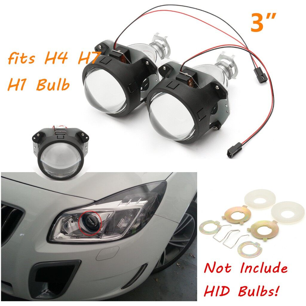 Car Lights - Pair 3'' MINI HID 6000k Bi-xenon Headlight Projector Lens for Bulb H4 H7 H1 RHD - Replacement Parts
