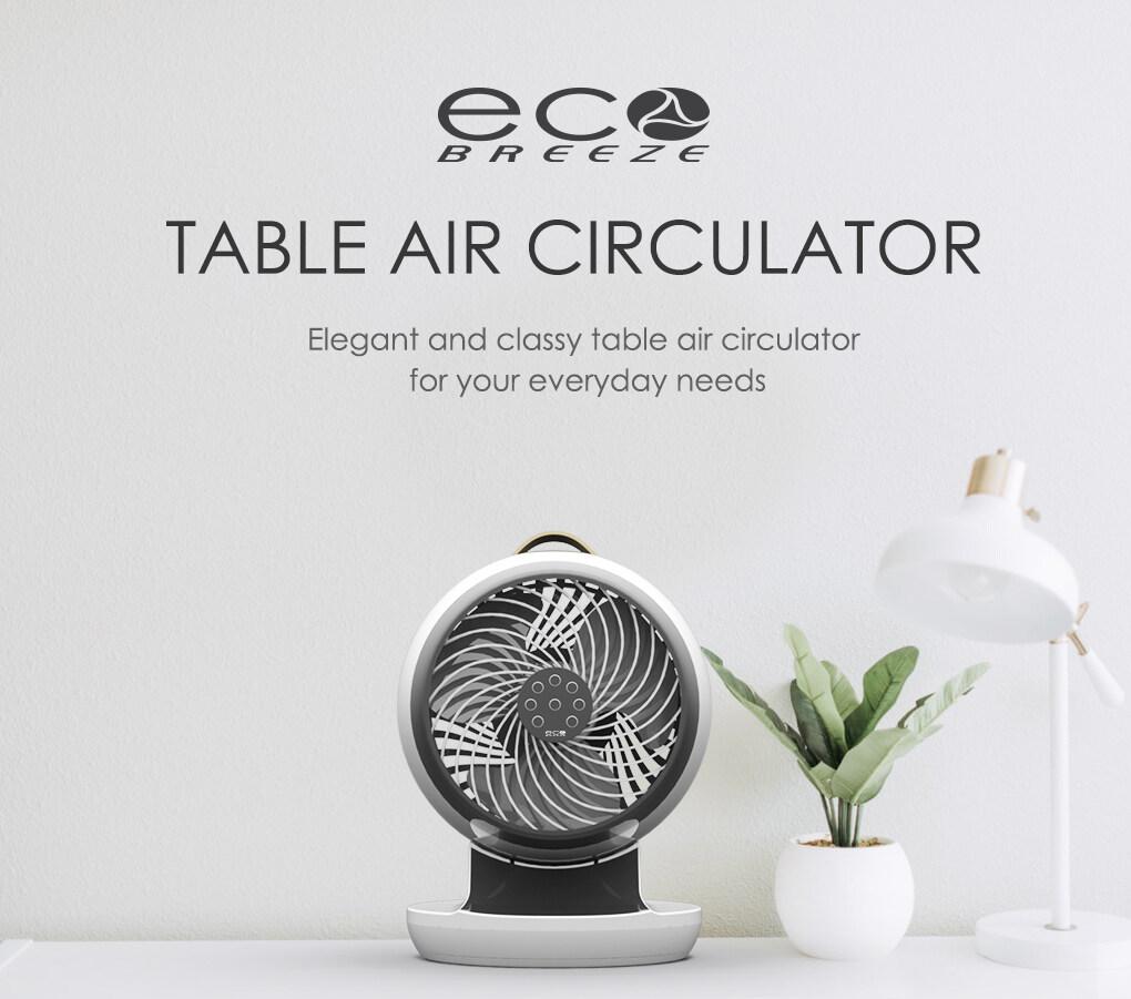 [ECOBREEZE] DC Motor Table Air Circulator Fan WIth Magnetic Remote Control  Portable  Long Throw  360 Circulation  Best Use On Sidetable  Kipas Pengedaran Meja Mudah Alih  Buatan Malaysia [EBTF01DC] EBTF01DC