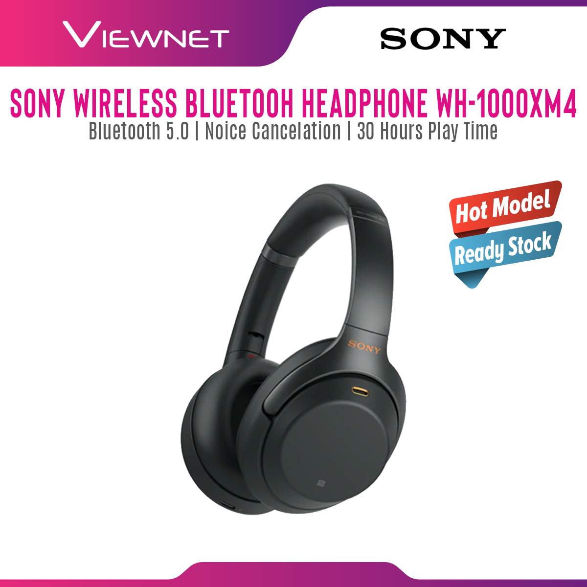 Sony Wireless Headphones WH-1000XM4 / WH1000XM4 / XM4 Noise Cancelling Wearing Detection Touch Control Up to 30 Hours Battery Voice Assistant Compatible Local Manufacturer Warranty