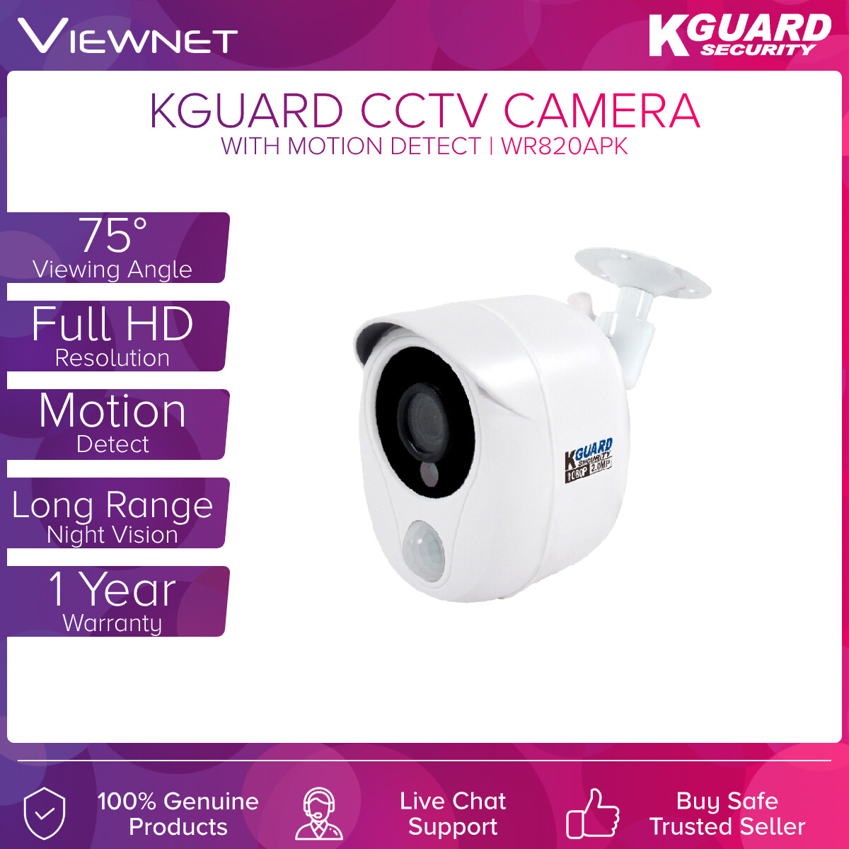 KGUARD CCTV CAMERA + MOTION DETECT (WP820APK)