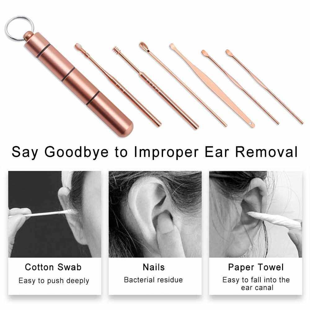 6pcs/set Ear Cleaner Kits Stainless Steel Earpick Wax Remover Curette Ear Pick Ear Cleaner Spoon Spiral Ear Clean Tool (Silver)