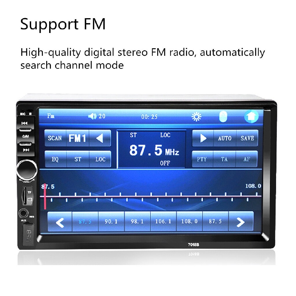 Car Multimedia Players - 7 Inch 2 DIN In Dash Pantalla T ctil Coche Radio FM MP5 Jugador+C mara Posterior ellieshang - Electronics