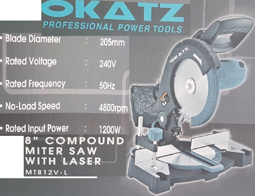 8 inch miter saw cut off power tool level cut cutting cutter disc lock bench high slice fast slicer laser speed pressure motor slice roll blade metal press down move angle side slide grinder drill cutting safety wheel base control measure support