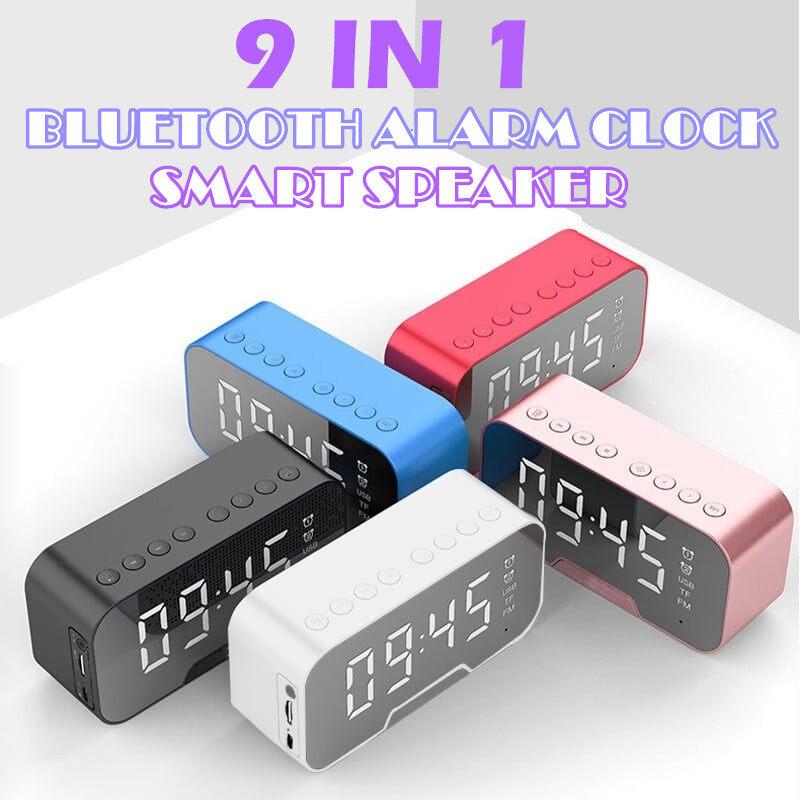 Mirror Alarm Clock Bluetooth Speaker Wireless with FM Radio LED Subwoofer Music Player Desktop Clock Snooze Bass