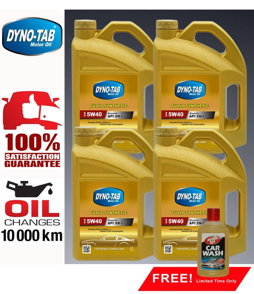 DYNO TAB 5W40 SN/CF Fully Synthetic Engine Oil 4Liter X 4 Bottles FREE 1 bottle Magic101 Car Wash 150ml [Limited-Time Offer]
