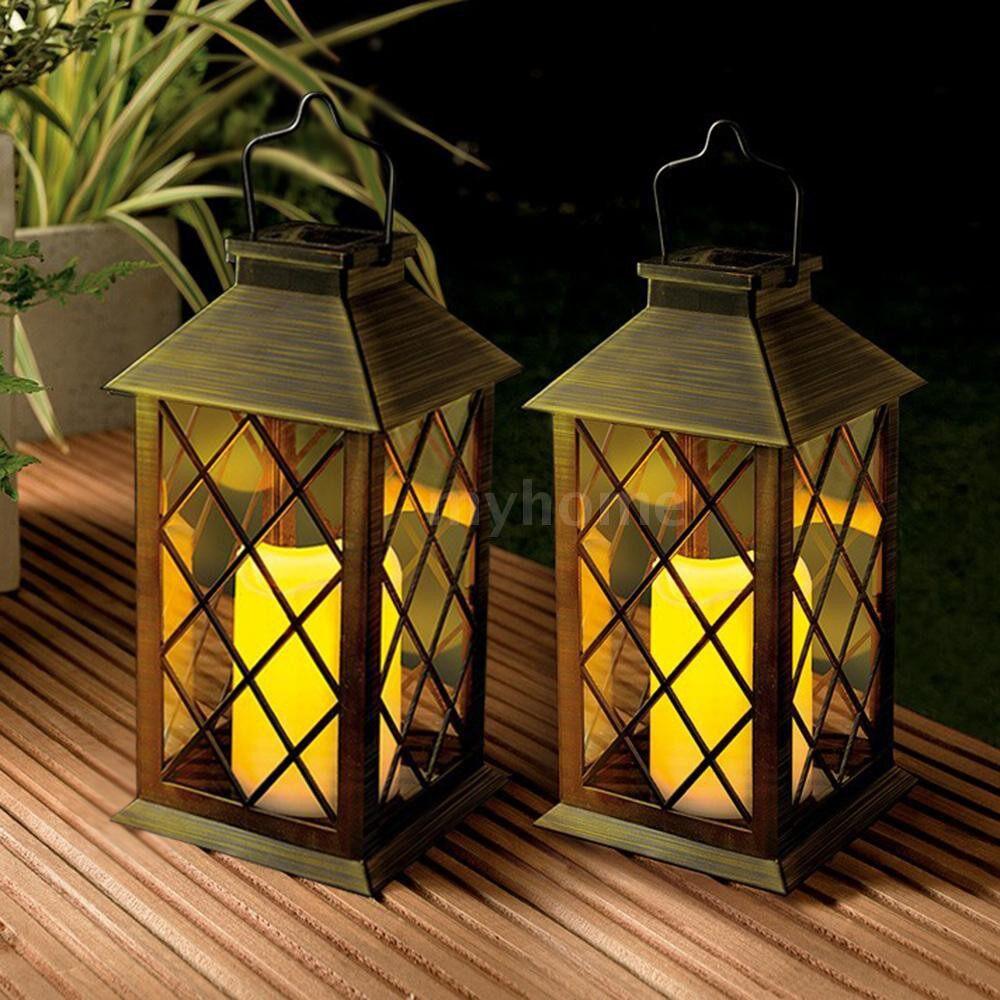 Outdoor Lighting - Solar Powered LED Light Lamp Dancing Flickering Flame Lighting Effect Rechargeable - BRONZE
