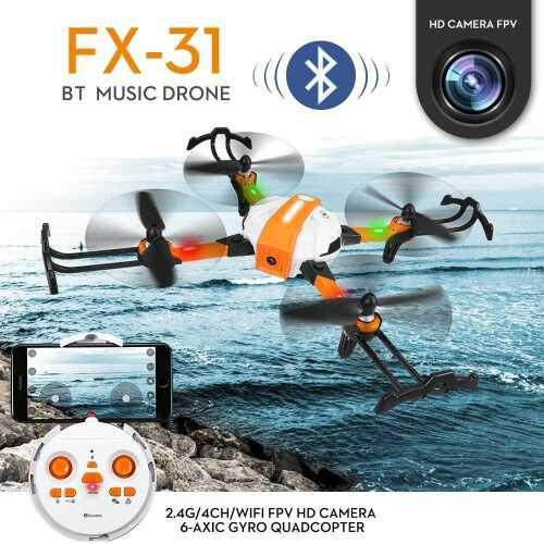 FX-31 RC Drone with Camera 720P Optical Flow Positioning Gesture Photo Follow Me BT Music Drone (Standard)