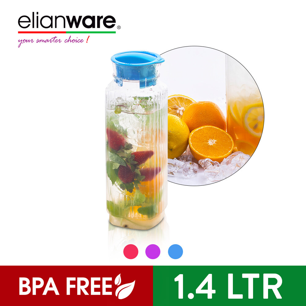 Elianware BPA Free Square Glass-Like Transparent Clear Water Jug with Twistable Cover (1.4Ltr)