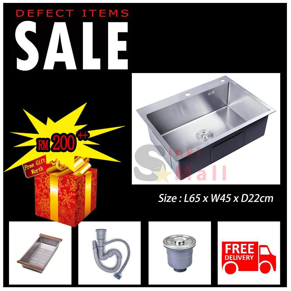DEFECT 65x45 Handmade 304 Stainless Steel Kitchen Sink Brushed Counter Topmount or Undermount Single Bowl