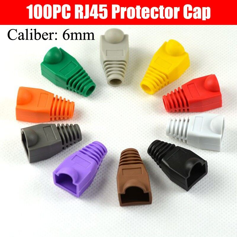 100PC 0.6mm Network LAN RJ45 Cat 5 Cat 5e Cat 6 Rubber Boot PVC Protector Cap - BLACK / RED / BLUE / GREEN / GRAY / PURPLE / COFFEE / DARK GRAY / WHITE