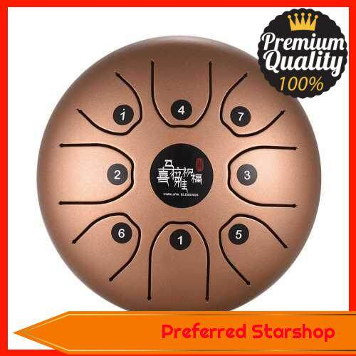 5.5 Inch Mini 8-Tone Steel Tongue Drum C Key Percussion Instrument Hand Pan Drum with Drum Mallets Carry Bag (Gold)