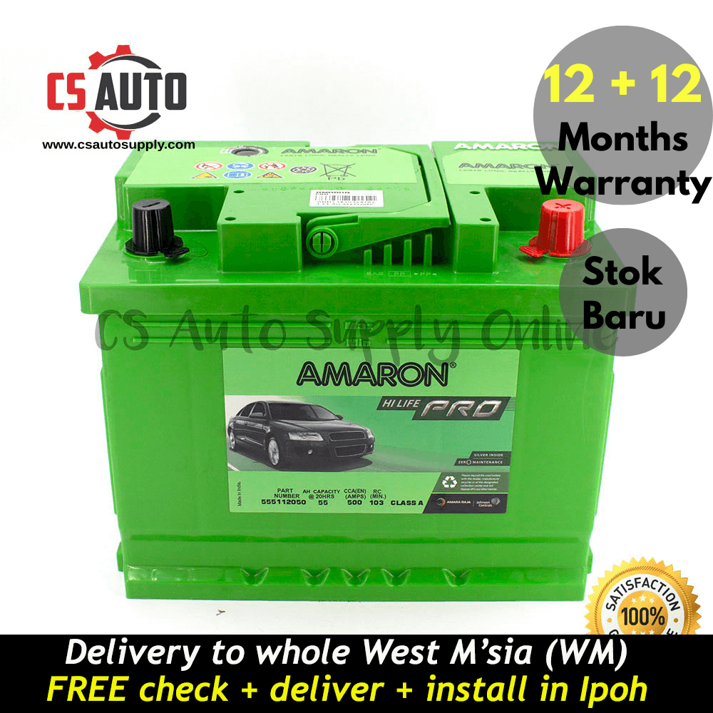 Amaron DIN55 DIN55L Hi Life Pro Battery MF Genuine for Hyundai Elantra, Getz and Peugeot 3008, Alfa, Citreon C5, Kia Picanto, Naza Citra, VW Polo Ipoh