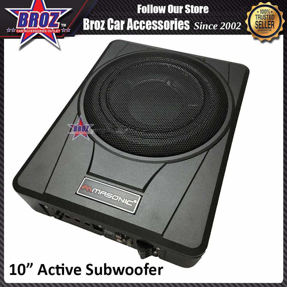 Broz Masonics 10 inch Active Subwoofer with High Power and Low Distortion Amplifier