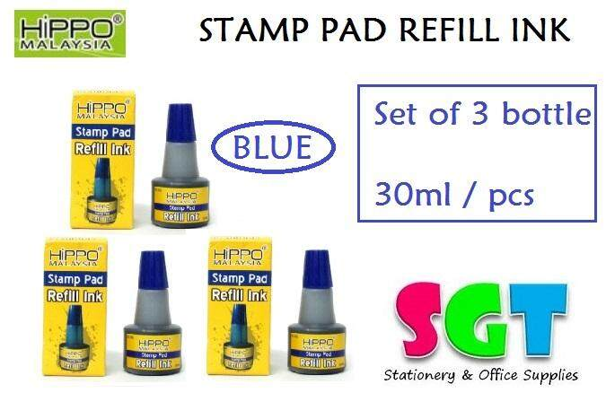 HIPPO Stamp pad Refill ink 30ml ( set of 3 ) Blue Colour
