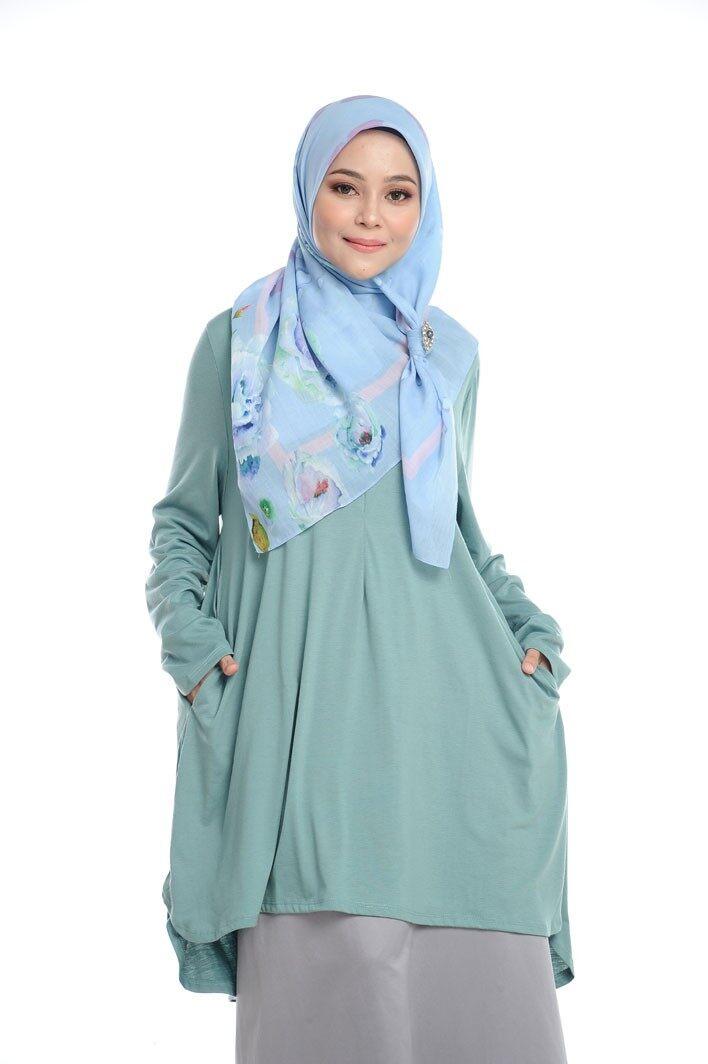 [ Local Ready Stocks ] LEANEN COMFY KURTI V5 -AQUA Pakaian Wanita Muslimah Labuh Sopan Women Blouse Muslimah ( Saiz XL-XXL )