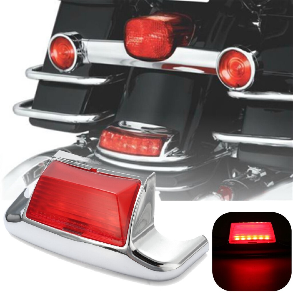 Moto Accessories - Chrome Rear Mudguard Fender Tip Trim Driving Light For Harley Touring FLHT FLT - SMOKE / RED
