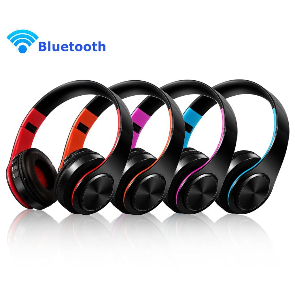 Over-Ear Headphones - Noise Cancellig Foldable WIRELESS BLUETOOTH Stereo Head SET Headphone_3C - ROSE WHITE / ORANGE WHITE / BLUE WHITE / RED WHITE / ROSE BLACK / ORANGE BLACK / BLUE BLACK / RED BLACK