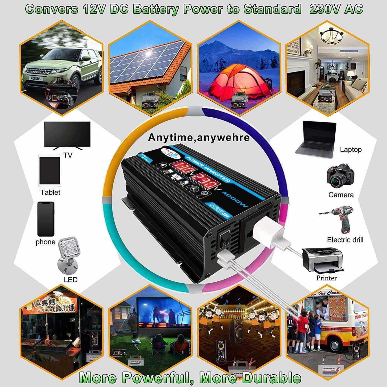 Best Selling Modified Sine Wave Inverter High Frequency 4000W Peak Power Watt Power Inverter DC 12V to AC 220V Converter Car Power Charger Inverter with 2.1A Dual USB Port Battery Clips Display Screen (Black)