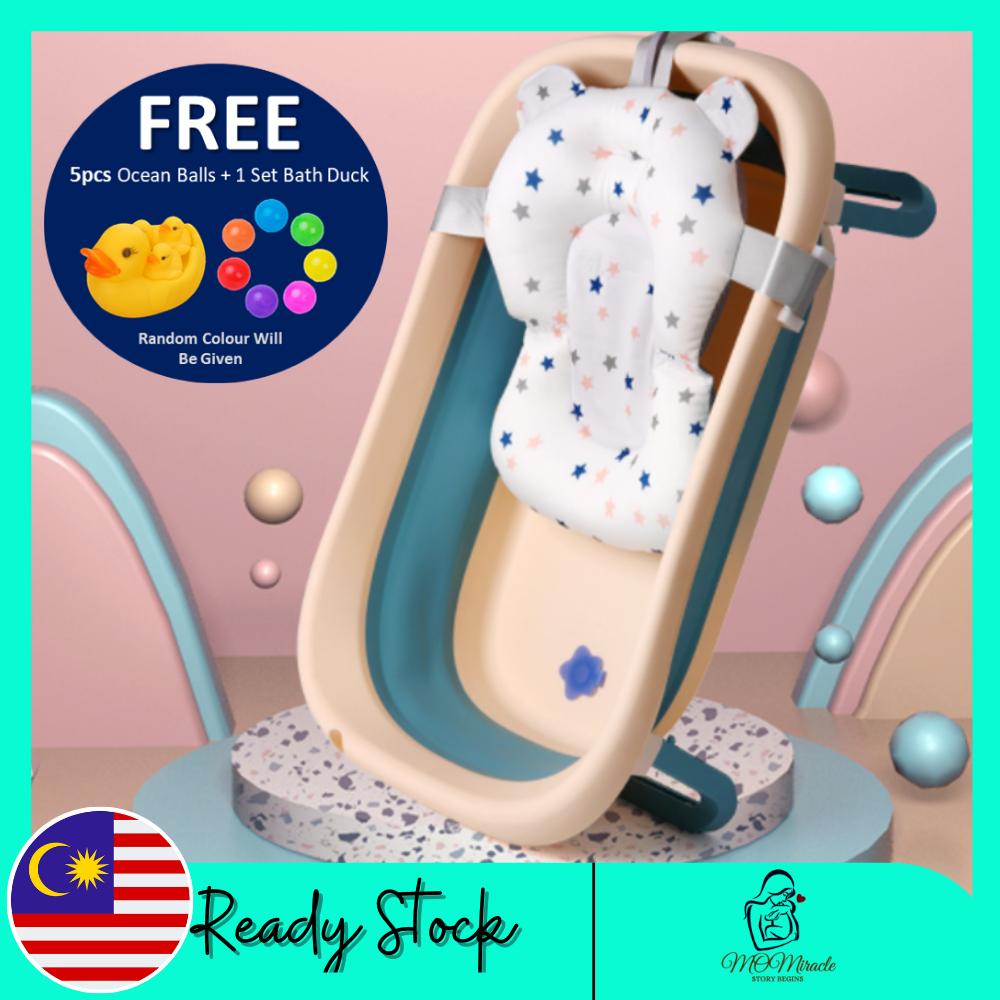Foldable Baby Bathtub Portable Folding Plastic Bathtub Newborn Toddler Bathtub Thickened Plastic Bathtub with Thermometer