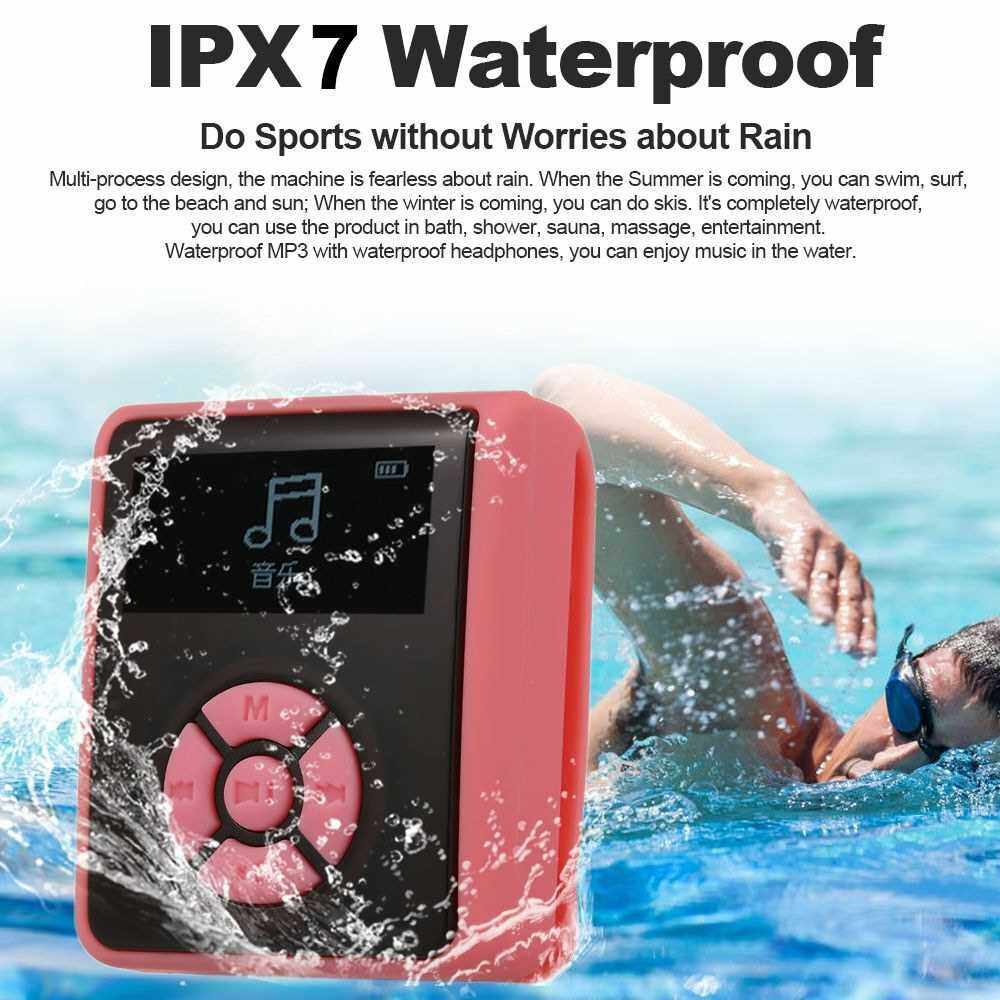 IPX7 Waterproof MP3 Player 4GB Music Player with Headphones FM Radio for Swimming Running Diving Support Pedometer (Black)
