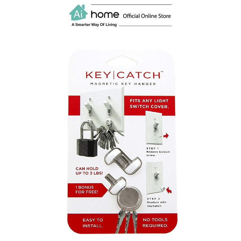 KEYSMART KeyCatch Magnetic Key Rack,Screw-in,3 Pack + Easy Installation [ Ai Home ] KEYSMART Screw-in