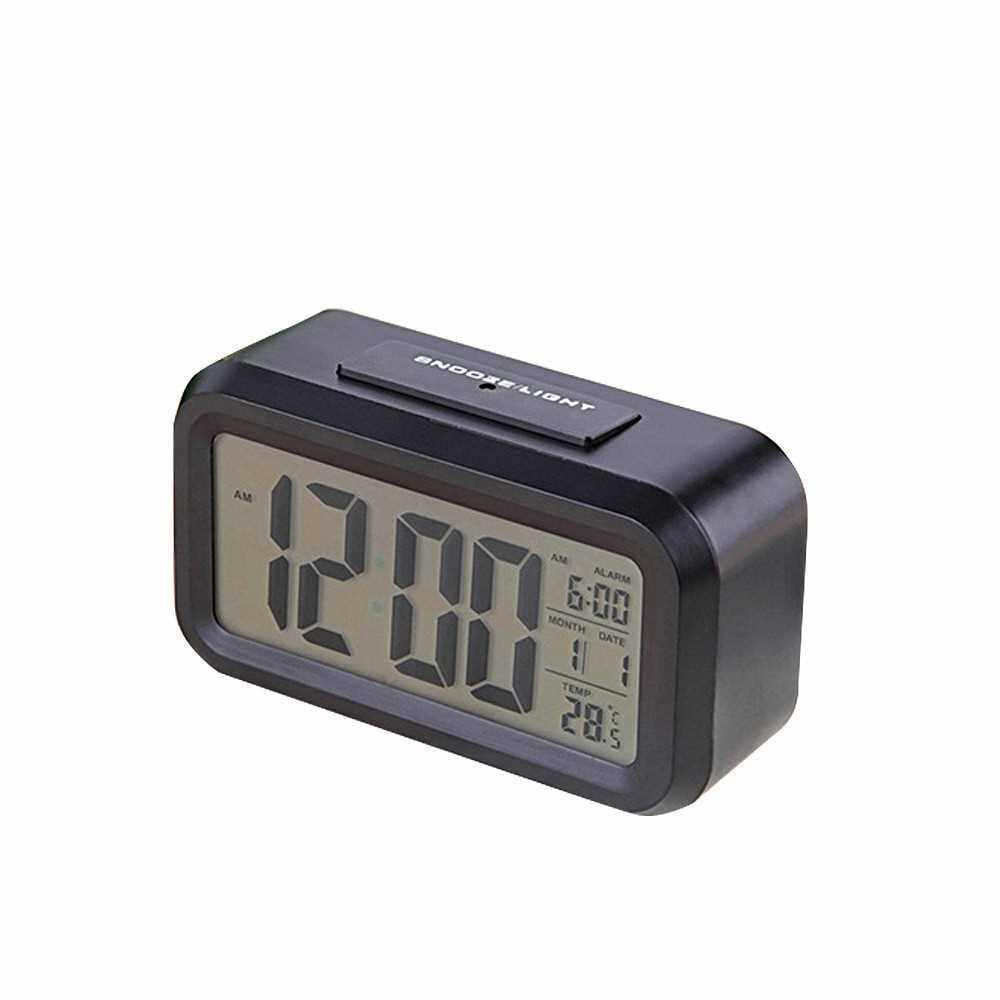Children Bedside Clock Smart Nightlight Table Electronic Clock Large Screen Digital Clock (Black)