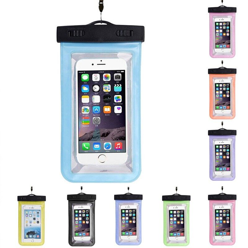 Universal Waterproof Phone Case Bag Airbag Floating Swimming Waterproof Case for Below - ORANGE / BLUE /PINK / SKY BLUE / YELLOW / GREEN / PURPLE / BLACK