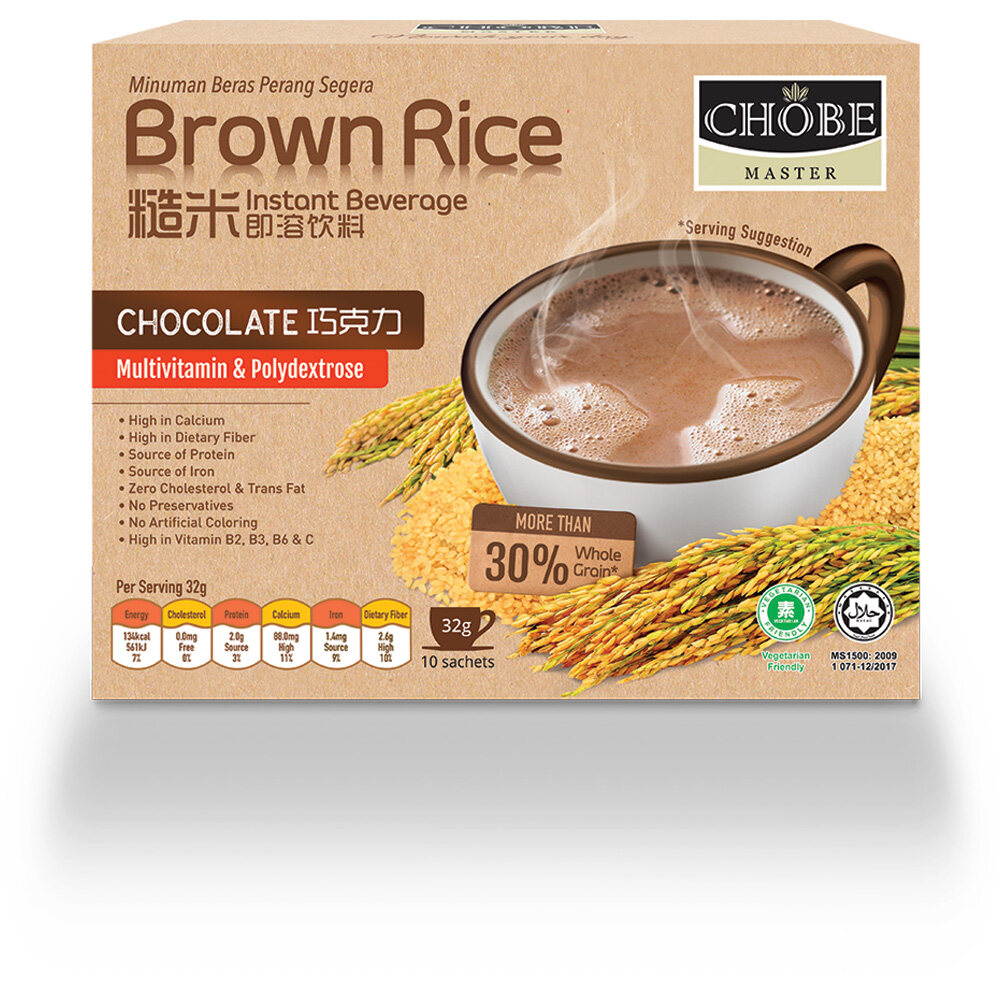 【NEW FORMULA with Prebiotic & Multivitamin】Chobe Master® Brown Rice Chocolate Drink 32gx10's