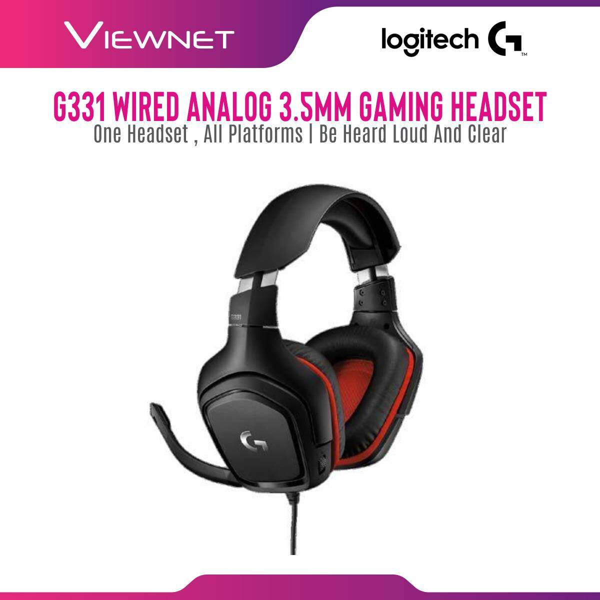 Logitech Wired Gaming Headset G331 (981-000759) with 50MM Driver, Flip To Mute Mic, Light Weight, 2 Meter 3.5MM Audio Jack