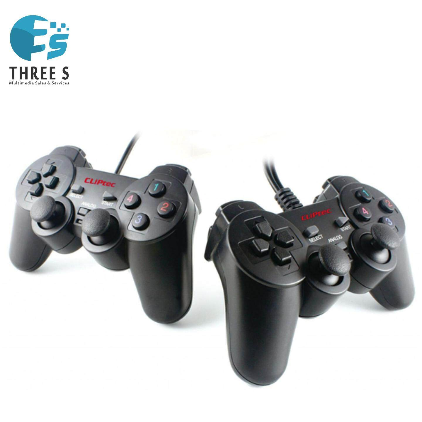 Ready Stock- CLiPtec Double Action PC USB Dual Vibration Twins Gamepad - Black RZG322