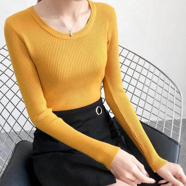 JYS Fashion Korean Style Women Knit Top Collection 526-6574col525a-6574--Yellow- One size